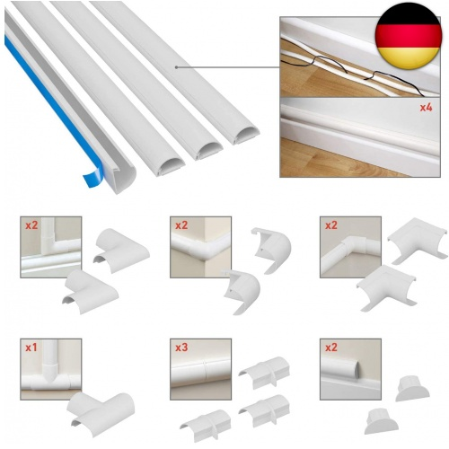 Indexbild 2 - D-Line Self-Adhesive, Round Cable Duct, Pack of 4