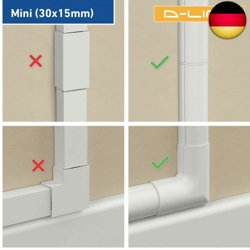 Indexbild 5 - D-Line Self-Adhesive, Round Cable Duct, Pack of 4